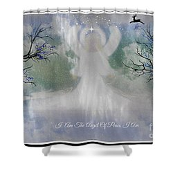 Shower Curtain featuring the digital art Midnight Angel Of Peace by Sherri  Of Palm Springs