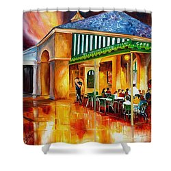 Midnight At The Cafe Du Monde Shower Curtain by Diane Millsap