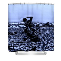 Midnight Battle Men Down Shower Curtain by Thomas Woolworth