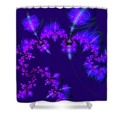 Shower Curtain featuring the digital art Midnight Blossoms by Judi Suni Hall
