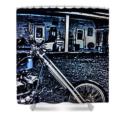 Shower Curtain featuring the digital art Midnight Blues by Lesa Fine