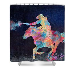 Midnight Cowgirls Ride Heaven Help The Fool Who Did Her Wrong Shower Curtain by Nikki Marie Smith