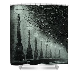 Midnight Dreary Shower Curtain by Carla Carson