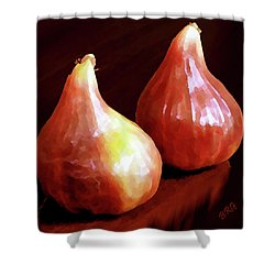 Midnight Figs Shower Curtain by Ben and Raisa Gertsberg