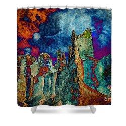 Midnight Fires Shower Curtain by Meghan at FireBonnet Art