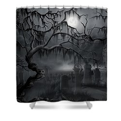 Midnight In The Graveyard  Shower Curtain by James Christopher Hill