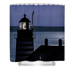 Shower Curtain featuring the photograph Midnight Moonlight On West Quoddy Head Lighthouse by Marty Saccone