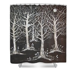 Midnight Mystery Forest Shower Curtain by Diane Pape