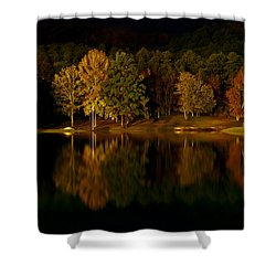 Midnight On The Lake Shower Curtain by Linda Unger