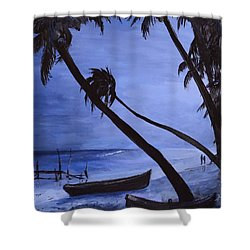 Shower Curtain featuring the painting Midnight Stroll In Paradise by Alan Lakin