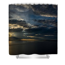 Midnight Sun Over Cook Inlet Shower Curtain by Andrew Matwijec