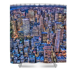 Midtown Manhattan Skyline Shower Curtain by Randy Aveille