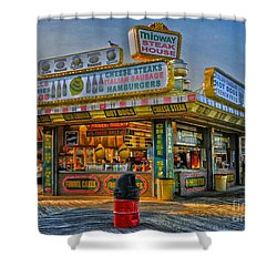 Shower Curtain featuring the photograph Midway Steak House by Debra Fedchin