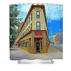 Midwest Flat Iron Building Shower Curtain by Garry Schmidt