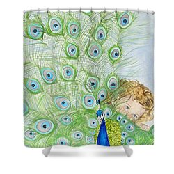 Mika And Peacock Shower Curtain