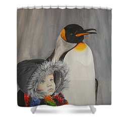 Mika And Penguin Shower Curtain