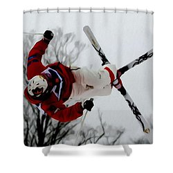 Mikael Kingsbury Skiing Shower Curtain by Lanjee Chee