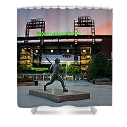 Mike Schmidt Statue At Dawn Shower Curtain by Bill Cannon