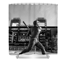 Mike Schmidt Statue In Black And White Shower Curtain by Bill Cannon