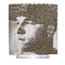 Mike Trout Mosaic Shower Curtain by Paul Van Scott
