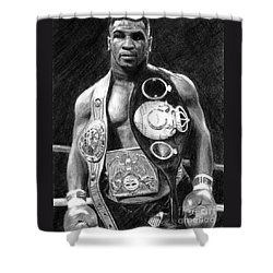 Mike Tyson Pencil Drawing Shower Curtain