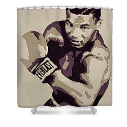 Mike Tyson Poster Art Shower Curtain by Florian Rodarte