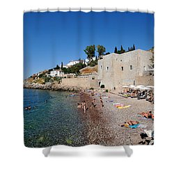 Mikro Kamini Beach Shower Curtain by George Atsametakis