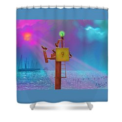 Mile Marker 9 Shower Curtain by Gerry Robins