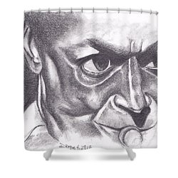 Miles At Work Shower Curtain by Dallas Roquemore