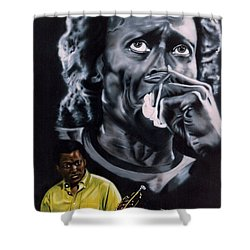Shower Curtain featuring the mixed media Miles Davis Jazz King by Thomas J Herring