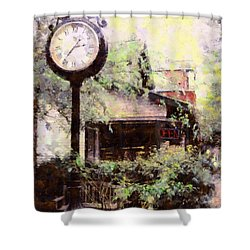 Milford Jewelry Square Clock Shower Curtain by Janine Riley