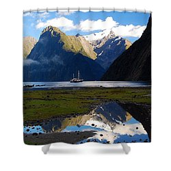 Shower Curtain featuring the photograph Milford Sound by Cascade Colors