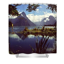 Milford Sound In New Zealand's Fiordland National Park Shower Curtain by Alex Cassels