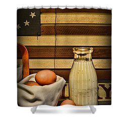 Milk And Eggs Shower Curtain by Paul Ward