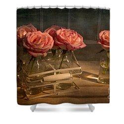 Milk Bottle Roses Shower Curtain by Ann Garrett