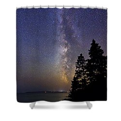 Milky Way At Acadia National Park Shower Curtain by John Vose