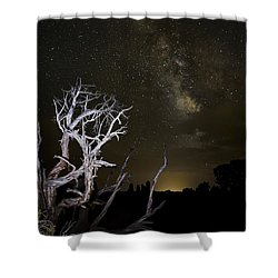 Milky Way Over Arches National Park Shower Curtain by Adam Romanowicz