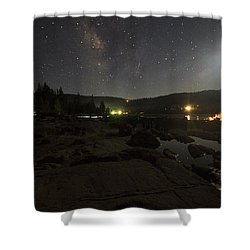 Milky-way Over Plasse's Resort - Silver Lake Shower Curtain