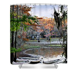 Shower Curtain featuring the photograph Mill Pond Canoes by Lana Trussell