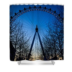 Shower Curtain featuring the photograph Millennium Eye London At Twilight by Peta Thames