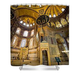 Mimbar And Mihrab In The Hagia Sophia Shower Curtain by Artur Bogacki