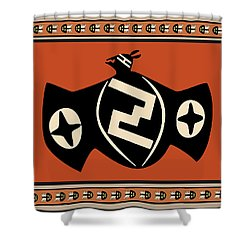 Mimbres Tribal Bat Spirit Shower Curtain by Vagabond Folk Art - Virginia Vivier