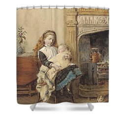 Minding Baby Shower Curtain by George Goodwin Kilburne
