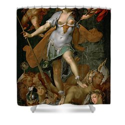 Minerva Victorious Over Ignorance Shower Curtain