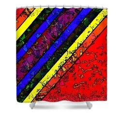 Shower Curtain featuring the digital art Mingling Stripes by Bartz Johnson