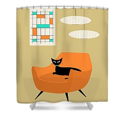 Mini Abstract With Orange Chair Shower Curtain