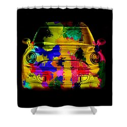 Mini Cooper Colorful Abstract On Black Shower Curtain