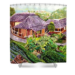 Shower Curtain featuring the painting Mini Paradise by Belinda Low
