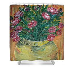 Shower Curtain featuring the painting Mini Roses by Teresa White