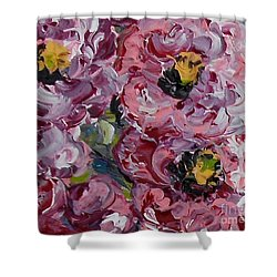 Shower Curtain featuring the painting Miniature Antique Roses ... The Faithfulness Of Love by Eloise Schneider